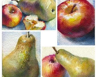 Fruit painting - apple painting - pear painting, kitchen art watercolor. Fruit print