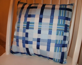 Sale...Blue and White Woven Grosgrain Ribbon Throw Pillow...FREE SHIPPING