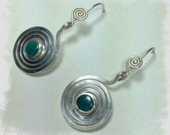 Silver spirals with Chrysocolla Espiral de la vida