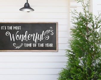 It's the most wonderful time of the year - wood sign - chalkboard look background - custom colors available