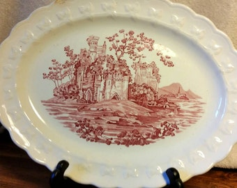 Serving Platter with Castle  Scene