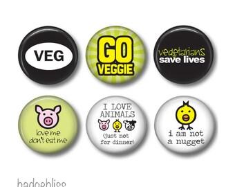 Vegan, vegetarian pinback button badges or fridge magnets, fridge magnet set