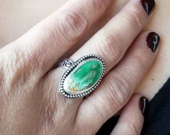 Australian Variscite Ring - Size 7.5 & Custom Size -  Sterling Silver - READY TO SHIP
