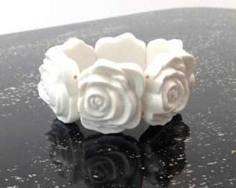 1950s bangle bracelet celluloid roses vintage