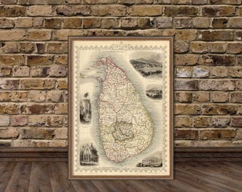Ceylon map  - Sri Lanka map - - Old map - Fine art print