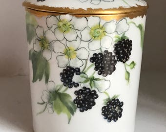 Hand-Painted Limoge T & J Jam or Condensed Milk Holder/Vintage Limoge/Hand-Painted Porcelain
