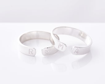 Sterling Silver Initial Ring • Custom Initial Ring • Personalised Ring • Personalised Initial Ring • Stamped Letter Ring • Couples Initials
