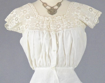 Edwardian Camisole Corset Cover, White Cotton & Filet Crochet Top, Antique 1910s Top