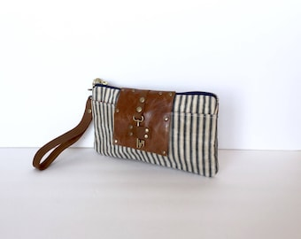 Navy Ticking Stripe Waxed Canvas & Leather Smartphone Wallet, Wristlet, Clutch Purse, Small Purse