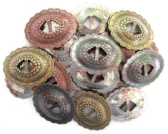 "CONCHOS 1 1/4"" Mixed Colors Western Oval Shape 20 pcs"