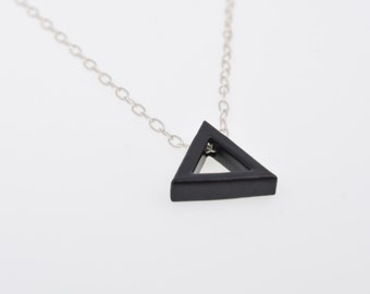 Black necklace,triangle necklace,mens necklace,triangle pendant,jewelry for man,sterling silver,gift for him