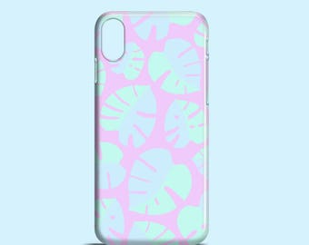 Monstera Leaves iPhone X case, iPhone 8, lilac iPhone 7, pastel iPhone 8 Plus case, floral iPhone SE, iPhone 6/6S, iPhone 5/5s, 7 Plus