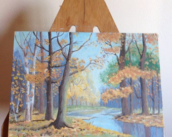 Vintage Mid Century Landscape Oil Painting, Field and River Scene, Beautiful Vintage Oil on Board  signed J Cole