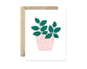 Potted Herbs Mint - Greeting Card