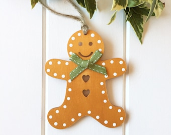 Golden Gingerbread Man Handmade Christmas Ornament - Wooden Christmas Decoration - Christmas Tree Decoration - Gingerbread Man Ornament