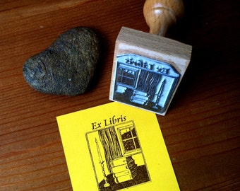 Candle Bookplate Stamp Ex Libris Stamp with wooden holder - ready for shipping