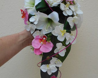 "Loose - bridal bouquet ivory and fuchsia - ""Leane"""
