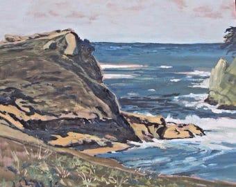 "SEASCAPE Oil Painting ""Sunset on the Klamath"" Original"