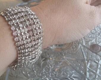 Stunning Kramer NY Wide Rhinestone Bracelet
