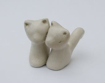 Cat Sculpture, Clay Figurine, Two Cats, Small Sculpture, Clay Cat, Love Gift, Cat Art, Clay Art Sculpture, Cats Twin Gift