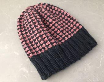 Knit gray hat, gray beanie knit, gray hat knit, gray knit beanie, knit salmon beanie, knit salmon hat, pale pink hat, pale pink beanie
