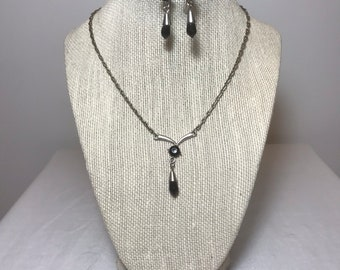 Onyx Silver Tone Necklace with Earring Demi Parure