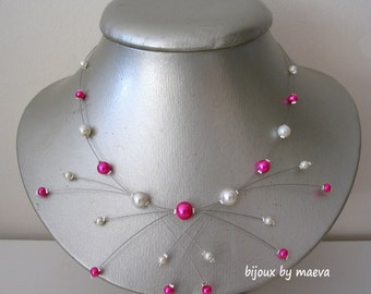 """Wedding bridal costume jewelry necklace fuchsia and ivory pearls """"sparks"""""""