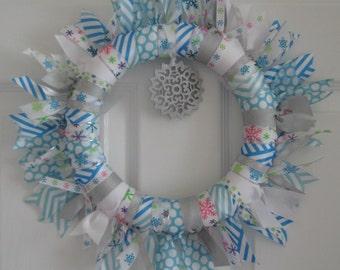 Ribbon Wreath - Blue, White and Aqua