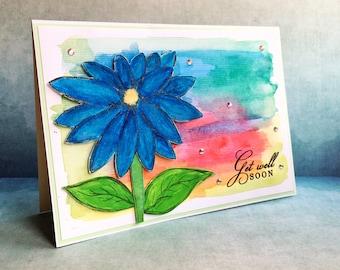 Get Well handmade card - artistic card - hand painted card - designer card