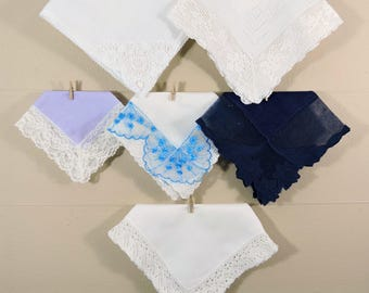 Vintage Lace Hankies / Lace Edged Hankerchiefs / Lace Ladies Hankies