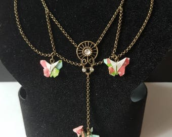 Victorian/kawaii origami Butterfly/dragon style bronze necklace