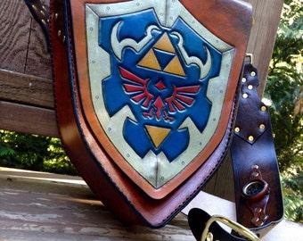 Handmade Leather Zelda Hylian shield bag - satchel - purse - handbag