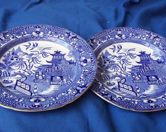 2 Pair Vintage Burleigh Old Willow 'Willow' Plates. 210 mm
