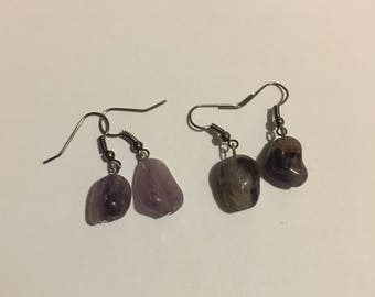 Natural Amethyst Dangle Earrings Magickal Witchy Accessory