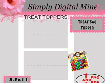 YOU Design!!! Treat Bag Topper labels Template !!