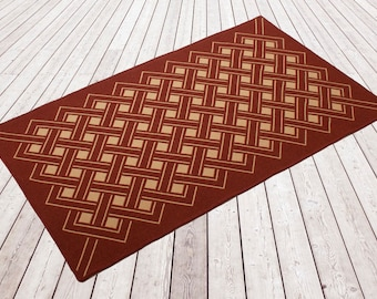 Woollen flat weave rug, Woven and backed. Designer rug, flooring, wool, Brick red/ beige, red, block lines, hand finished, home & living