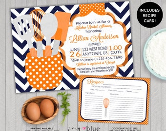 Stock the Kitchen Bridal Shower Invitation with Recipe Card Printable Navy and Tangerine Chevron Blue Orange Printable Digital File