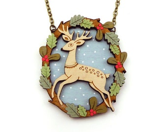 Leaping deer necklace ~ Christmas necklace ~ lasercut jewellery