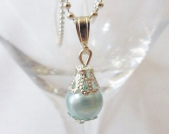 Blue pearl pendant - silver pearl pendant - single pearl necklace - pendant and chain -  bridal necklace