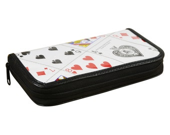 Medium size zip wallet playing cards, FREE SHIPPING, gift for her, zip wallet, vegan wallet, Upcycle wallet, Credit Card zipper wallet