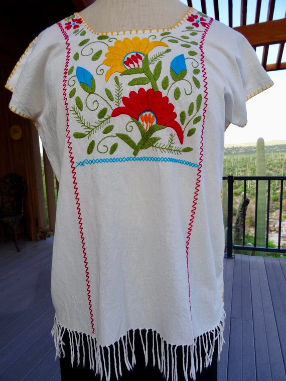 OAXACAN MEXICAN Embroidered Blouse/ Hand Embroidered Fringed Cotton Blouse  from Oaxaca/ Vintage Mexican Blouse/ Peasant Blouse/ Gypsy Blouse