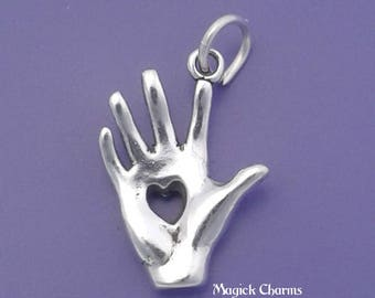 HEART in HAND Charm .925 Sterling Silver Pendant - lp2126