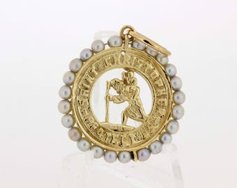14K Gold and Pearl Saint Christopher Medallion