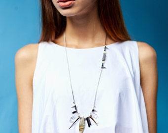 Unique necklaces for women necklace stone spike jewelry long necklace silver stone necklace long necklace chain stone spike necklace