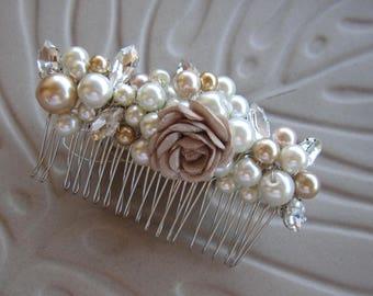Pearl comb/ wedding pearl headpiece, bridal hair, beige gold ivory pearl combaccessories, weddings