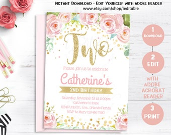 Floral Girls Birthday Invitations, Second Birthday Invitation, Pink and Gold, Flower invite, Editable Invitations, Template Instant download