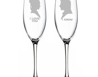 I Love You - I Know Star Wars Engraved Champagne Flutes - CF45520-ED11L