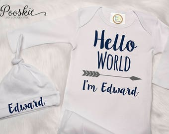 Hello World Baby Outfit, Coming Home Outfit, Newborn Clothing, New Arrival Baby Gown, Baby Boy Gift, Custom Baby Gown, Navy Baby Gown P73