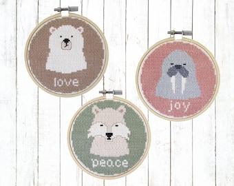Arctic animals cross stitch pattern  - modern cross stitch pattern PDF - Instant download