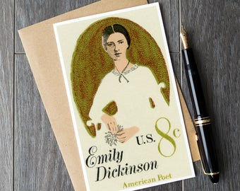 Emily Dickenson card, writer gifts, writer birthday cards, poetry gifts, american poet, teacher retirement cards, teacher appreciation gifts